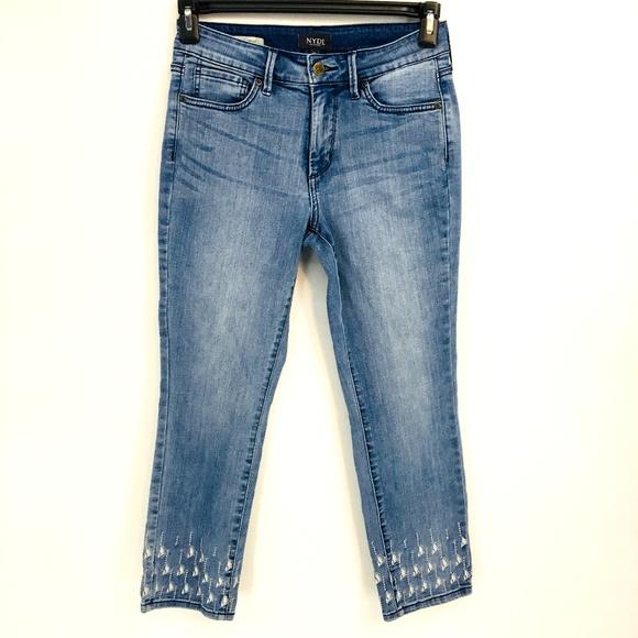 NYDJ Denim - Nydj Light Wash Embroidered Skinny Jeans